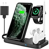 [Latest 2020] 4in1 Wireless Charger, Qi-Certified Wireless Charging Dock Station for Apple iWatch Series SE/6/5/4/3/2/1, AirPods Pro&Pencil Fast Charging Stand for iPhone 12/11/11 Pro Max/XR/XS/X