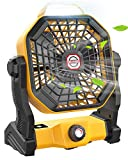 Portable Camping Fan with LED Lantern, 10400mAh Outdoor Tent Fan Portable Fan Rechargeable, 270°Head Rotation and Quiet Battery Operated Powered USB Fan for Picnic, Barbecue, Fishing, Travel