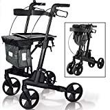 OLDPRO Medical Aluminum Rollator Walker with Seat, Backrest, Bag and Trays for Senior, Folding Rolling Walker, 8-inch Wheels Mobility Aid for Adult, Elderly & Handicap