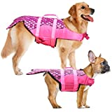 Dog Life Jacket - Mermaid Hot Pink, Portable Dog Swimming Jacket Vest, Lifesaver Vests with Rescue Handle for Small Medium and Large Dogs, Pet Safety Swimsuit Preserver for Swimming, Beach Boating(XS)