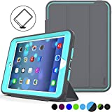 iPad Mini 1/2/ 3 Case(Not for mini4) Three Layer Heavy Duty Shock Poof Smart Cover, Auto Sleep Wake with Leather Stand Feature for iPad Mini 1/2/3 (Dark Gray/SkyBlue)
