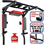 Wall Mounted Pull Up Bar and Dip Station Multi-Grip Chin-Up Bar Dip Stands Compact Power Tower for Indoor Home Gym Workout Multifunctional Fitness Training Equipment (Black)