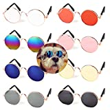 Pibupibu Pets Can See Colors Dogs Cats Round Retro Party Favors Sunglasses Set Cute Funny Cosplay Toys Costume Photos Props (8 Packs Mix)
