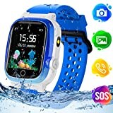 Themoemoe Kids GPS Watch, Kids Smartwatch with GPS Tracker Waterproof Phone Smartwatch 1.44 SOS Touch Screen Flashlight Camera Math Game Chat (Blue)