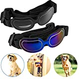 2 Pack Small Dog Sunglasses Pet Goggles Windproof Fog-Proof, Suitable for Puppy Doggy Cat with Adjustable Elastic Band for Travel Skiing(Blue and Black)