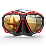 COPOZZ Scuba Mask, No Fogging Snorkeling Scuba Dive Glasses, Great Seal Free Diving Tempered Glass Mask Goggles (Red)