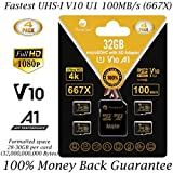 4 Pack 32GB Micro SD SDHC Memory Card Plus Adapter (Class 10 U1 UHS-I V10 A1 MicroSDHC Pro) Amplim 4X 32 GB Ultra High Speed 100MB/s 667X Flash for Cell Phone Tablet GoPro Camera Fire Nintendo DJI