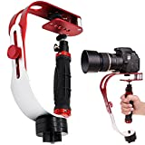 AFUNTA Pro Handheld Video DSLR Camera Stabilizer Steady Compatible GoPro Cannon Nikon Sony Camera Cam Camcorder DV Smartphone up to 2.1 lbs with Smooth Pro Steady Glide -Red/Silver/Black