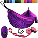 Gold Armour Camping Hammock - USA Brand Single Parachute Hammock (2 Tree Straps 10 Loops/20 ft Included) Lightweight Nylon Portable Adult Kids Best Accessories Gear (Purple/Fuchsia)