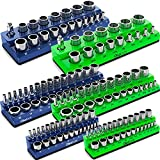 Olsa Tools Magnetic Socket Organizer | 6 Piece Socket Holder Set | 1/2-inch, 3/8-inch, & 1/4-inch Drive | Metric Blue, SAE Green | Holds 143 Sockets | Professional Quality Tool Organizers