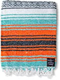 Mexican Blanket Yoga Blanket | Handwoven Authentic Made in Mexico Yoga Serape Blankets | Perfect Beach Blanket, Baja Blanket, Camping Blanket, Blanket and Throws, Yoga Bolster, Seat Cover (Mandarin)