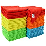 S&T INC. 968601 Assorted 50 Pack Microfiber Cleaning Cloths, 50 Pack