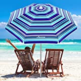 MOVTOTOP Beach Umbrella, 6.5ft Patio Umbrella with Sand Anchor & Tilt Mechanism, Portable UV 50+ Protection Outdoor Umbrella with Carry Bag for Garden Patio Beach Travel (Royal Blue Stripe)