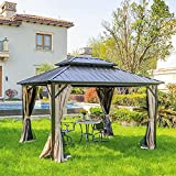 YITAHOME 10x12 ft Double Roof Canopy Gazebo with Nettingand Shaded Curtains, Outdoor Gazebo 2-Tier Hardtop Galvanized Iron Aluminum Frame Garden Tent for Patio, Backyard, Deck and Lawns
