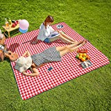 CHANODUG Machine Washable Extra Large Picnic & Beach Blanket Handy Mat Plus Thick Dual Layers Sandproof Waterproof Padding Portable for The Family, Friends, Kids, 79'x79' (Red and White)