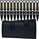 Whetstone Cutlery 12 Piece Set of S-Force Kunai Knives with Carrying Case, Black/Green, Model Number: 25-9044