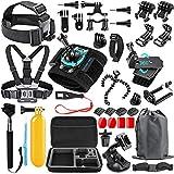 SmilePowo 48-in-1 Accessories Kit for GoPro Hero 8 Max 7 6 5 4 3 3+ 2 1 Black GoPro 2018 Session Fusion Silver White Insta360 DJI AKASO APEMAN YI Campark SJCAM XIAOMI (Carrying Case)