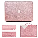 Anban Compatible with MacBook Air 13 Inch Case 2021 2020 2019 2018 Release A2337 M1 A2179 A1932 Touch ID, Glitter Smooth Protective Case & Glitter Laptop Sleeve & Keyboard Cover, MacBook Air 2020 Case