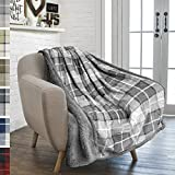 PAVILIA Premium Plaid Sherpa Fleece Throw Blanket | Super Soft, Cozy, Plush, Lightweight Microfiber, Reversible Throw for Couch, Sofa, Bed, All Season (50 X 60 Inches Light Grey)