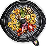Maxi-Matic Smokeless Indoor Electric BBQ Grill with Glass Lid Dishwasher Safe, PFOA-Free Nonstick, Adjustable Temperature, Fast Heat Up, Low-Fat Meals Easy to Clean Design, 14', Black