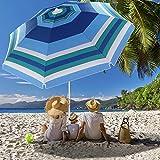 Beach Umbrella, 6.5ft Beach Umbrella with Sand Anchor & Tilt Mechanism, Portable Beach Umbrella for Patio Garden Beach Outdoor,Sunshade Umbrella with Carry Bag