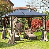 YITAHOME 10x12ft Hardtop Gazebo, Outdoor Aluminum Canopy for Patios, Garden, Backyard, Deck, Lawns w/Side Curtains, Mosquito Netting, Zippered Door
