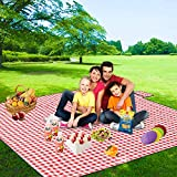 FIDENACK Picnic Blankets Extra Large - 80' x 80' Lightweight Blanket -Thickened Upgrade Oversized XL Folding Waterproof Portable Mat for Outdoor Picnics, Camping-Red and White