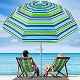 MOVTOTOP Beach Umbrella UV 50+, 6.5ft Umbrella with Sand Anchor & Tilt Aluminum Pole, Portable Beach Umbrella with Carry Bag for Beach Patio Garden Outdoor Blue/Green【2021 Upgraded】
