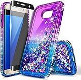 E-Began Case for Samsung Galaxy S7 Edge with Screen Protector (Maximum Coverage, Flexible TPU Film), Sparkle Glitter Flowing Liquid Quicksand Bling Diamond, Women Girls Kids Cute Case (Purple/Blue)