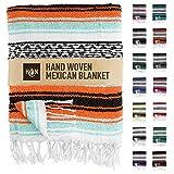 Handcrafted Mexican Blankets, Artisanal Handwoven Serape Blanket, Authentic Falsa Blanket, Great As Beach Blanket, Camping Blanket, Picnic Blanket, Outdoor Blanket, Boho Throw Blankets, Mint Orange