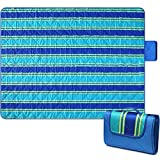 Bertte Outdoor Blanket Large Beach Camping Picnic Blanket Oversized Hiking Park Waterproof Sand Free Handy Compact Mat Durable Foldable Machine Washable Rug for Travelling, 79' x 59', Blue Stripe
