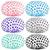 Keeygo 6 PCS Shower Caps, Extra Large Reusable Elastic 100% Waterproof Bathing Hair Cap for Women Beauty, Hair Spa, Home Hotel Travel Use