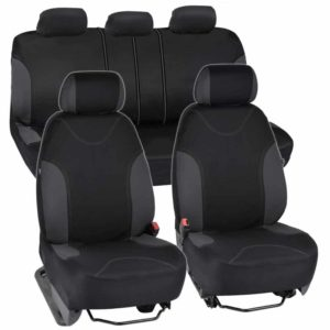 BDK Charcoal Trim Black Car Seat Covers With Split Option Bench