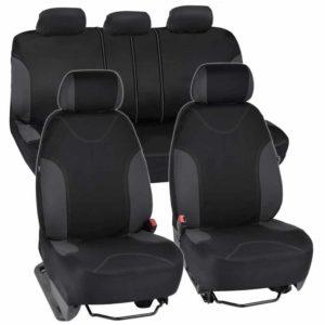 BDK Charcoal Trim Black Car Seat Covers With Split Option Bench