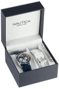 8. Nautica Men's N09915G Sport Ring Multifunction Blue and Yellow Box Set Watch