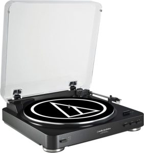 1. Audio-Technica AT-LP60BK-USB Fully Automatic Belt-Drive Stereo Turntable
