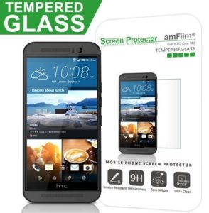 2. amFilm Tempered Glass Screen Protector for HTC One M9