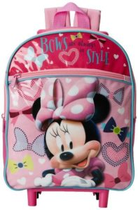 4. Disney Girl's Minnie Mouse 12 Inch Rolling Backpack
