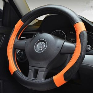 Universal Fit Black Red Mesh Cloth Car Steering Wheel Cover Soft Grip Glove