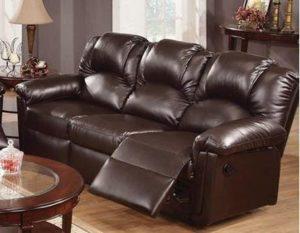 4. Poundex Espresso Bonded Leather Reclining Motion Sofa
