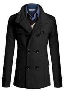 2. Doublju Mens Wool Slim Double Breasted Half Trench Coat
