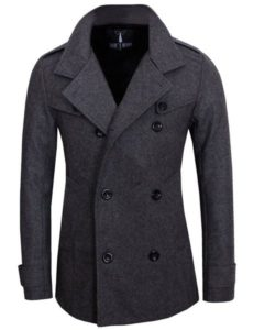 3. Tom's Ware Mens Stylish Fashion Classic Wool Double Breasted Pea Coat