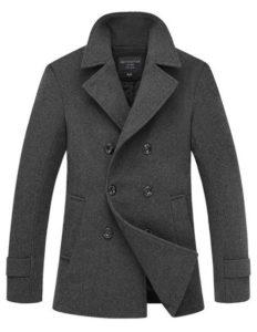 4. Match Men's Wool Blend Buttoned Top Coat