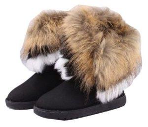 5. Gaorui women winter warm high long snow Ankle boots faux fox rabbit fur tassel shoes