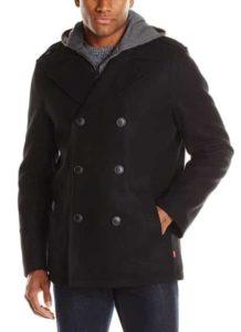 7. Levi's Men's Wool-Blend Coat with Fleece Hooded Bib