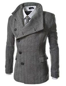 8. TheLees Men's Unbalance High Neck Slim Pea Coat