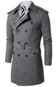 9. Doublju Mens Wool Coat with Belt