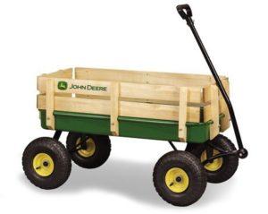 9. John Deere Steel Stake Wagon Green