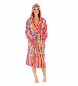 10. Del Rossa Women's 14 oz Fleece Hooded Bathrobe Robe