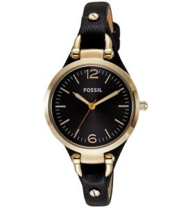 2. Fossil Women's ES3148 Georgia Three-Hand Gold-Tone Stainless Steel Watch with Leather Band